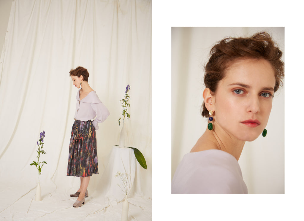 Eren SS19 Collection, Mei Lilac Blouse and Miller Abstract Print Skirt, Nyx Earrings, Jade, Lapis Lazuli, Gold, Made in London