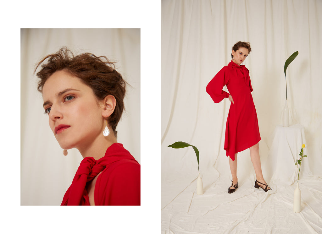 Eren SS19 Scarlett Red Dress, Eos Earrings, Made in London, Sustainably Sourced, Independent designer