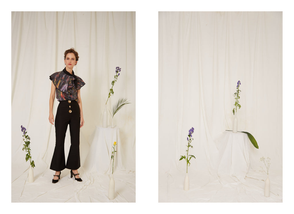 Eren SS19 Sargent Abstract print Top and Sol black Trousers, Made in London, Independent Designers, Trend