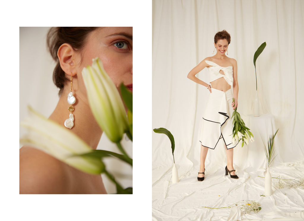 Eren SS19 Look, Calla Pearl Earrings, Frida White Top and Serra Skirt, Organic Cotton, Sustainable collection, Made in London