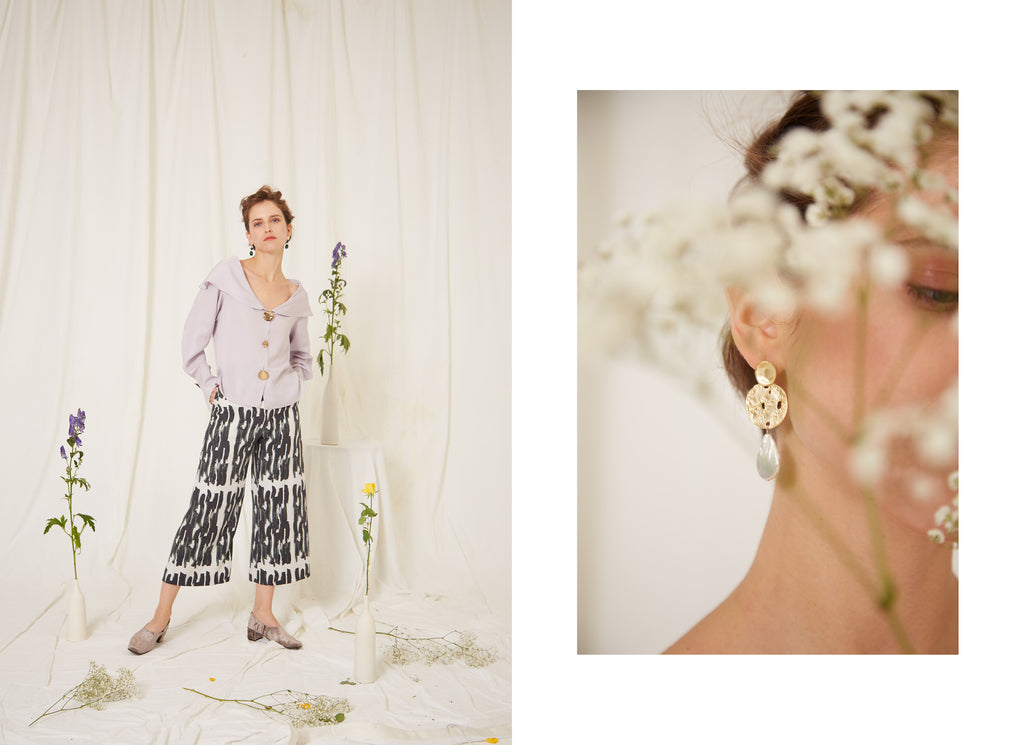 Eren SS19, Mei Lilac Blouse, Marlene Abstract Print Trousers, Clio Baroque Pearl and Gold Earrings