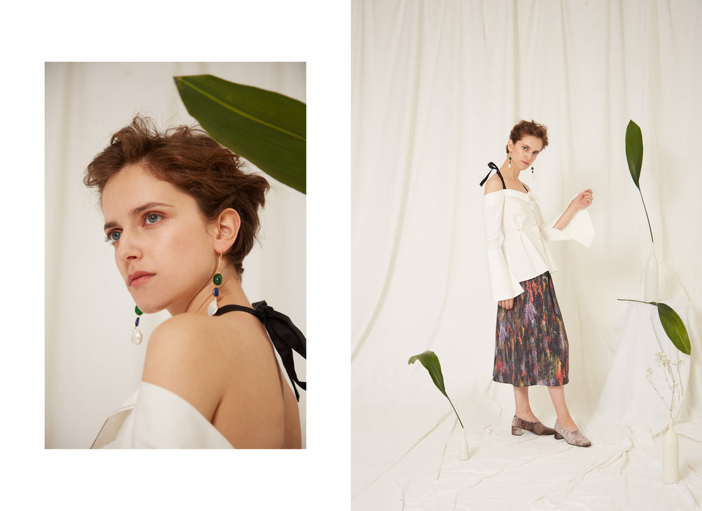 Eren SS19 Calliope Lapis Lazuli Jade and Fresh Water Baroque Pearl Earrings, Yves Shirt and Miller Skirt, Organic Cotton