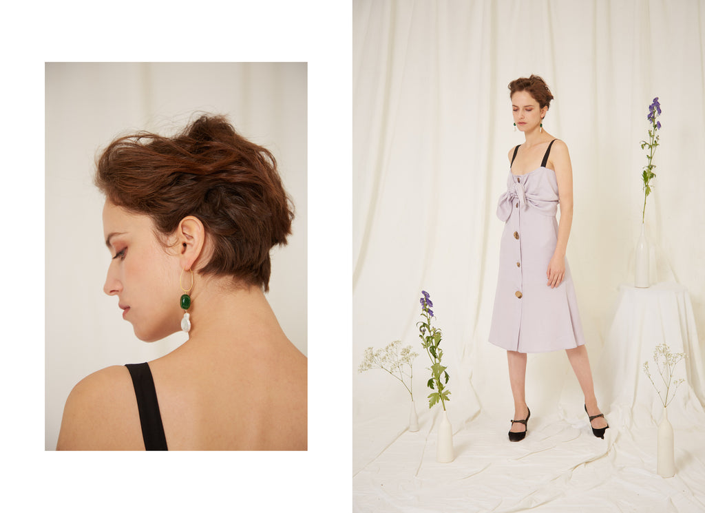 Daphne Jade Baroque Pearl Earrings and Sophie Lilac Dress