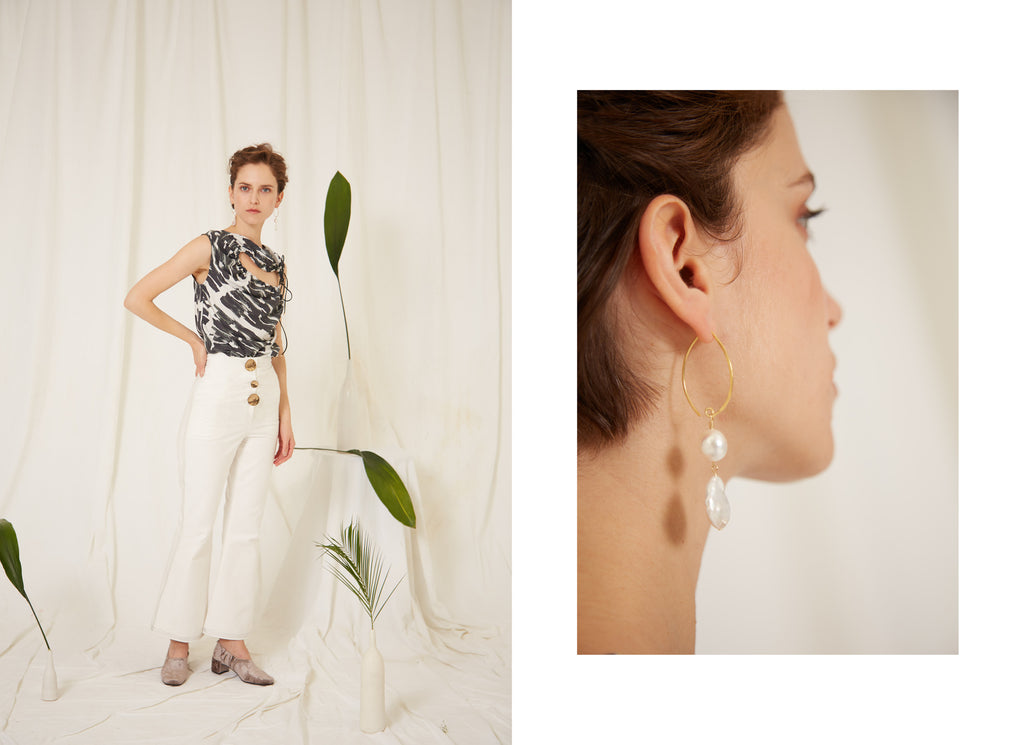 eren ss19, Right Chirico Print Top and Sol White Trousers, Left Asteria Pearl Earrings