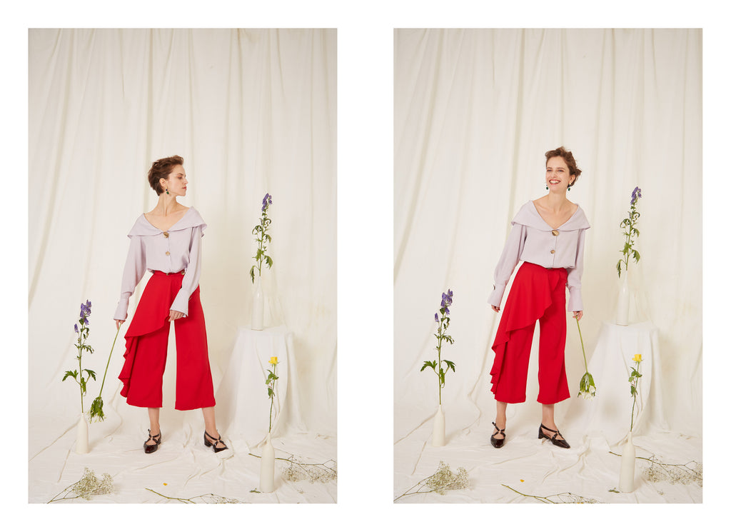 Eren SS19 Mei Lilac Blouse and Fontana Red Trousers