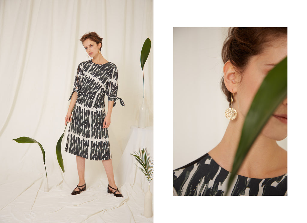 Samantha Dress and Plutus Earrings, Eren SS19, Made in London, Sustainable Fashion