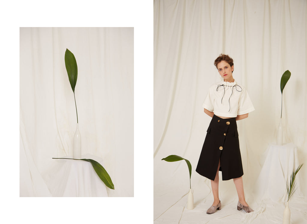 Sidaal Top and Ella Skirt, Organic Cotton, Made in London, Sustainability, Selene Pearl Earrings, Eren SS19