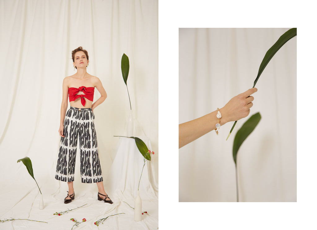 Eren SS19 Frida Red Top and Marlene Print Trousers, Calla Baroque Pearl Bracelet, Made in London