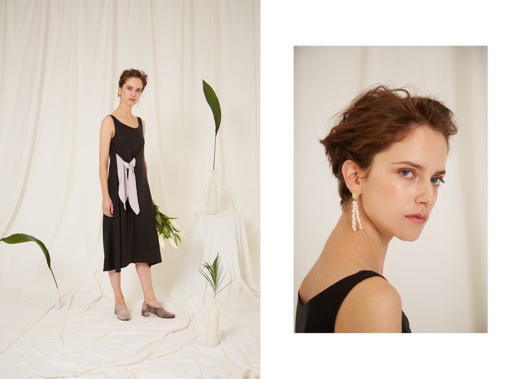 Eren SS19 Iris Black Tie Dress, Amaranthus Rice Pearl and Gold Earrings, Sustainability, Womenswear Collection, Made in London