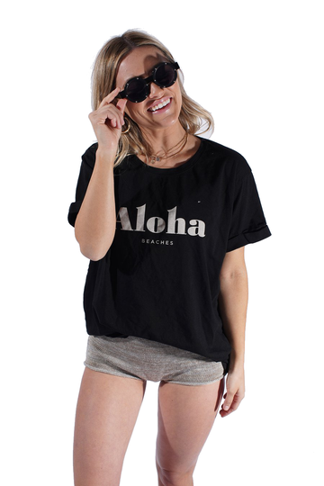 Aloha Beaches - Black Boyfriend Tee