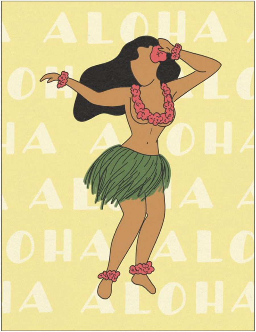Aloha (Hula Girl) Greeting Cards