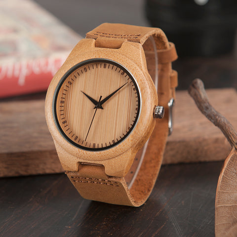 Luxury Bamboo/Leather Wristwatch - Univia