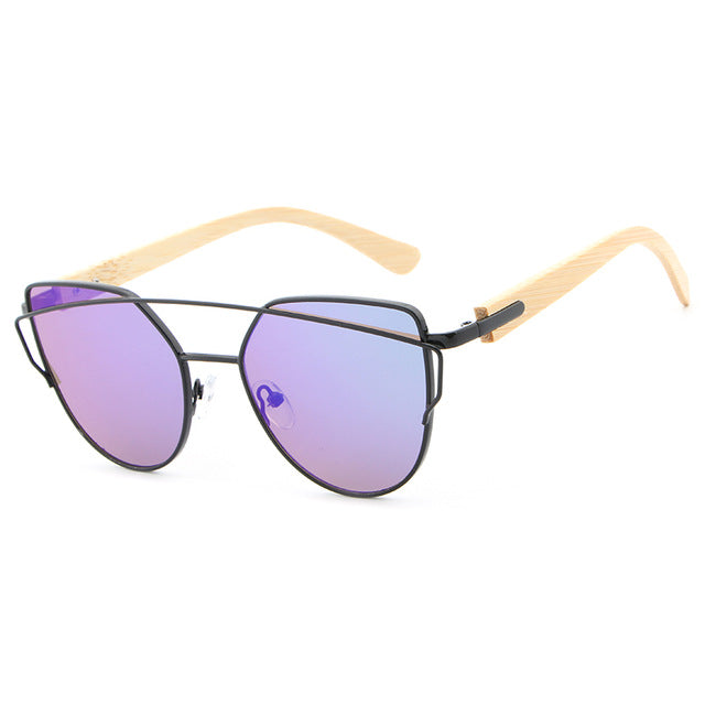 Designer Cat Eye Wood Bamboo Sunglasses for Women - Univia