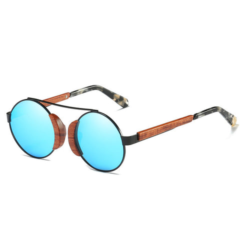 Retro Wooden Polarized Round Sunglasses Women - Univia