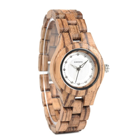 Zebra-patterned Wooden Women's Watch - Univia