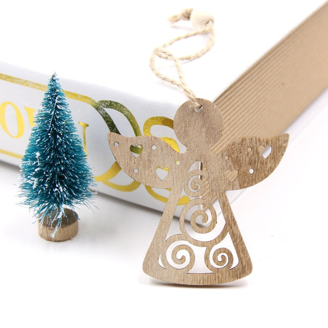 6PC Christmas-themed Wooden Tree Ornaments - Univia