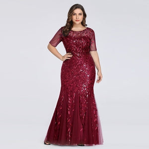 Plus Size Elegant Evening Dresses Saudi Arabia Ever Pretty Mermaid Sequined  Lace Appliques Mermaid Long Dress 2019 Party Gowns