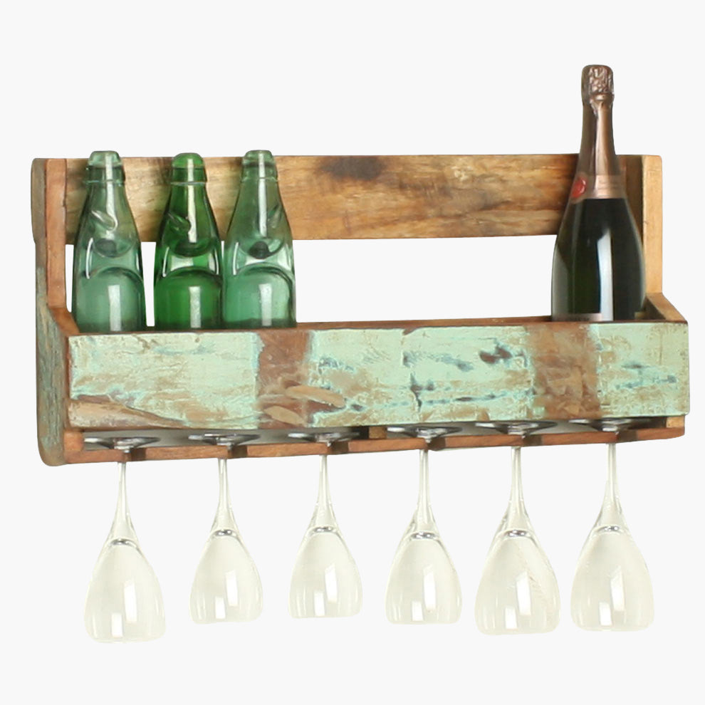 Scrapwood hanging wine rack