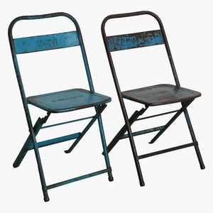 Iron folding bistro chair blue mix