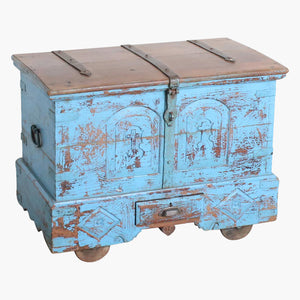 Blue teak chest Goa