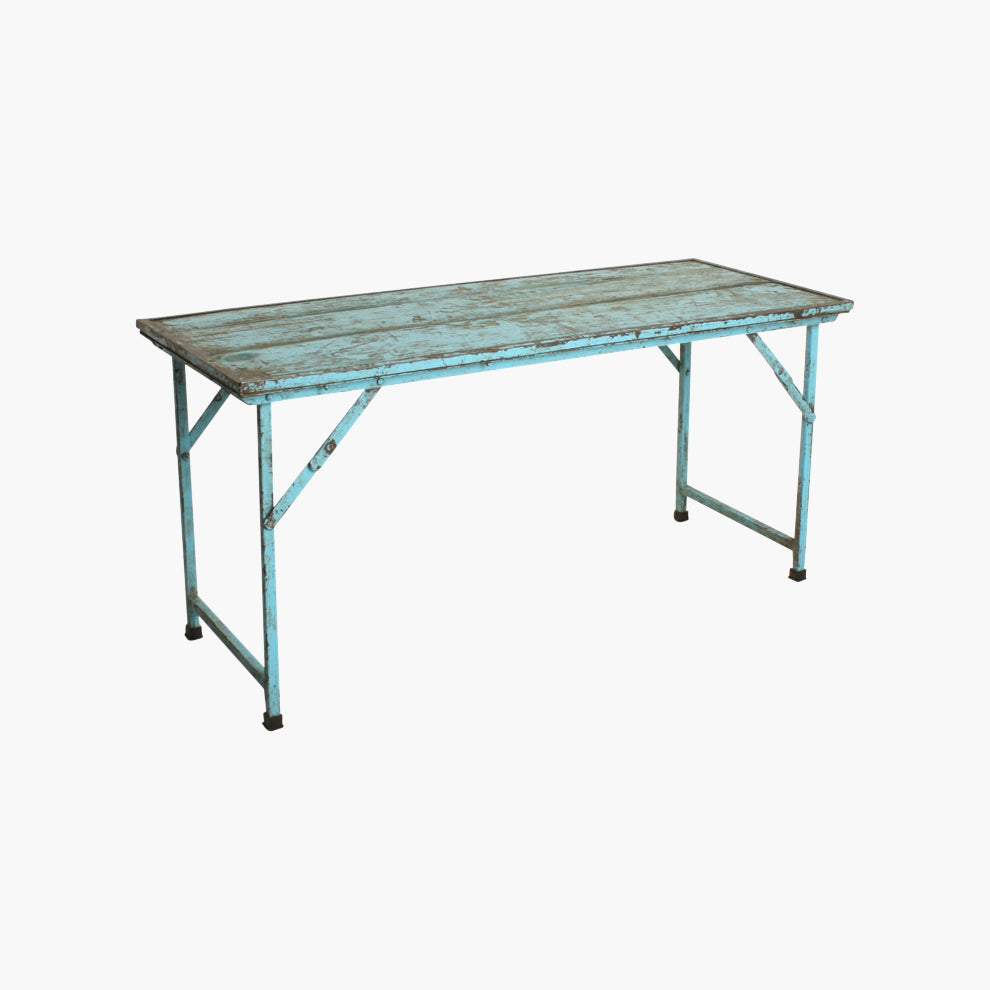 Market table iron legs, blue