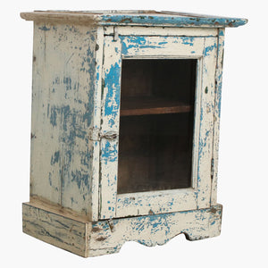 White & blue 1 door cabinet