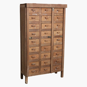 Natural teak 27x drawer admin. cabinet
