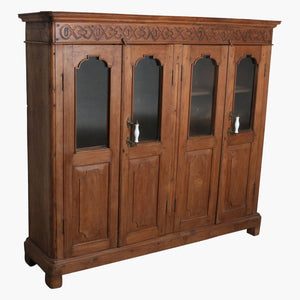 Teak english carved 4 door cabinet