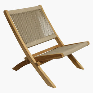 Rope folding lounge chair natural