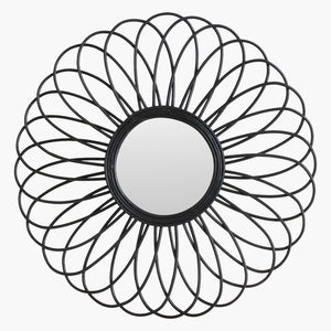 Rattan mirror Flower black