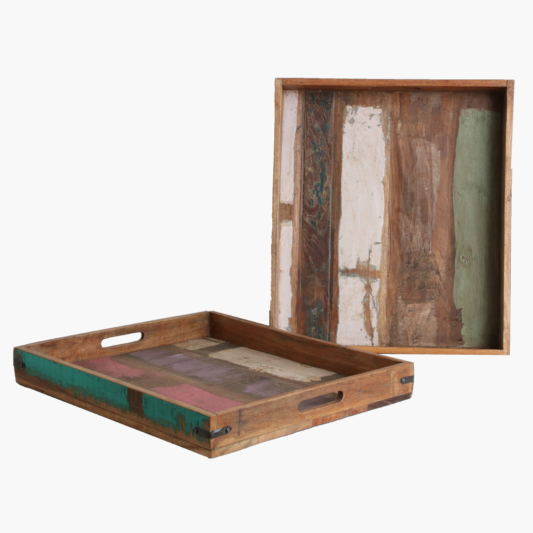 Scrapwood serving tray upright edge