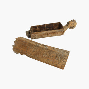 Carved wooden coffin