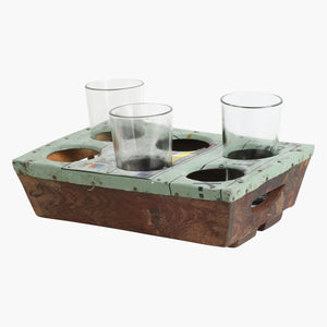 Scrapwood serving tray for 6 glasses