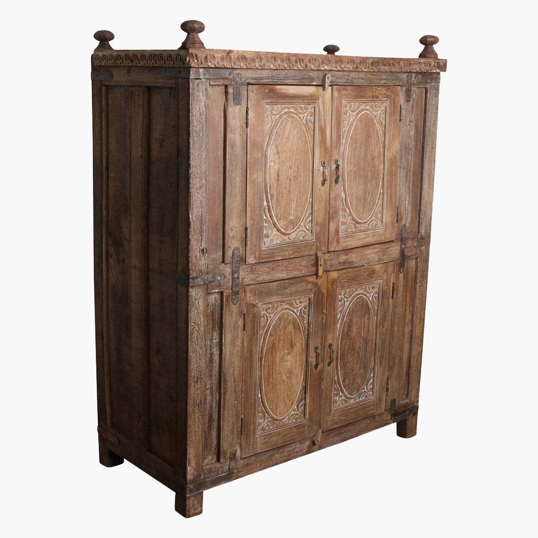 Original carved teak 4 door cabinet gujt