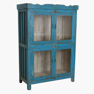 Blue 4 door carved cabinet