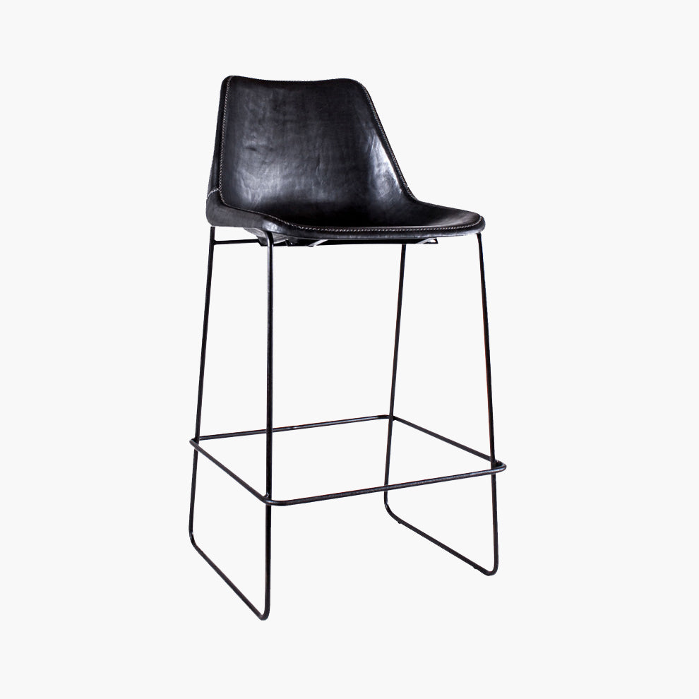 Stool Giron bar chair black leather