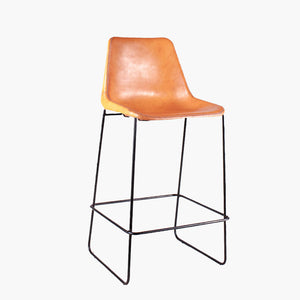 Stool Giron bar iron & natural leather