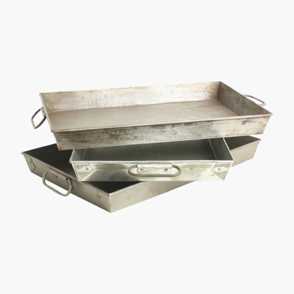 Metal tray rectangular +2 handles