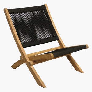 Rope folding lounge chair black