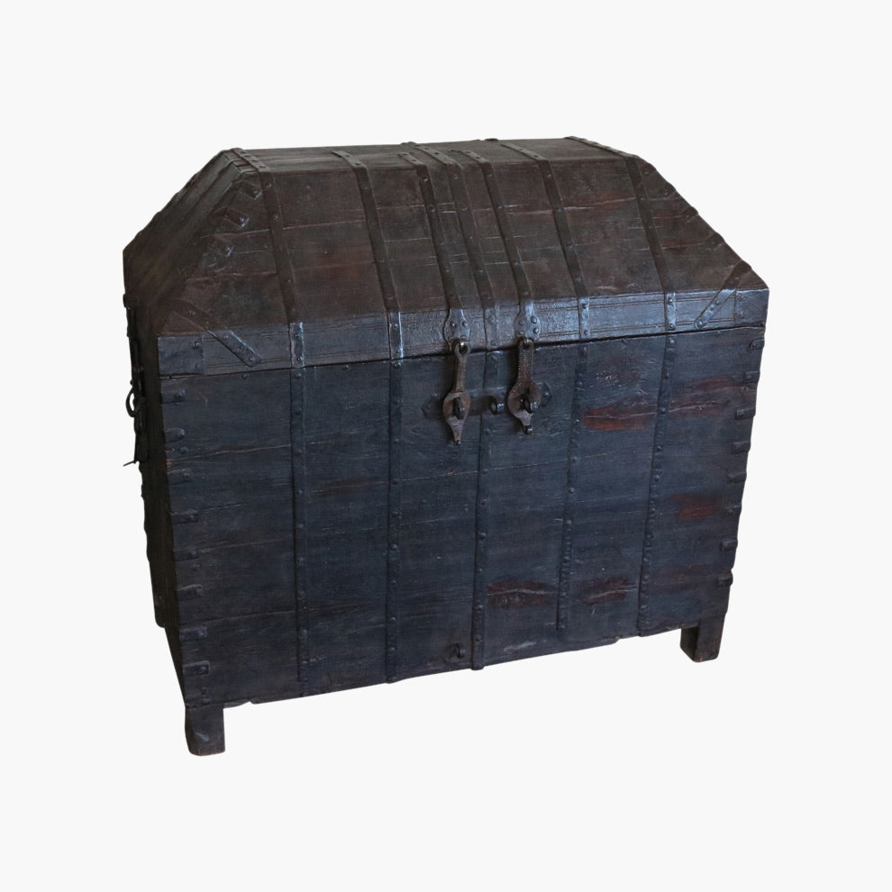 Dome teak+iron chest from Afganisthan