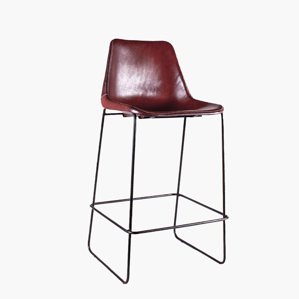 Sol Y Luna bar chair iron & brown leather