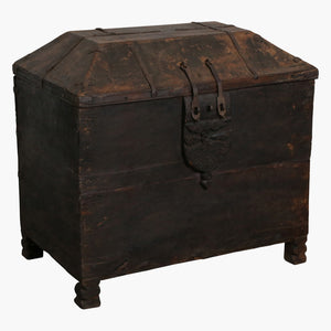 Black teak dome shaped chest