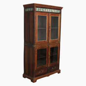 4 doors, 2 drawers teak cabinet + tiles