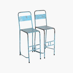 Java iron bar chair light-blue
