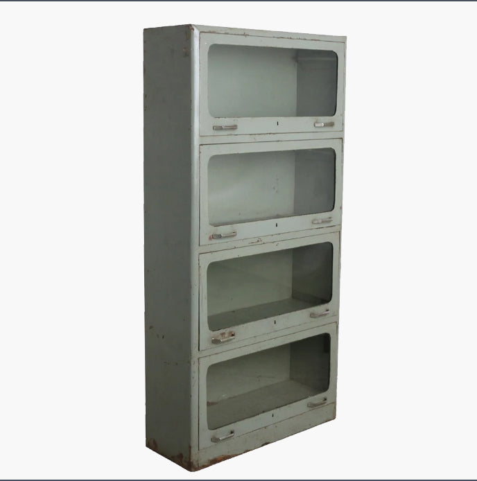 Light green iron 4 glass door cabinet