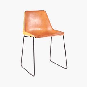 Sol Y Luna dining chair iron & natural leather