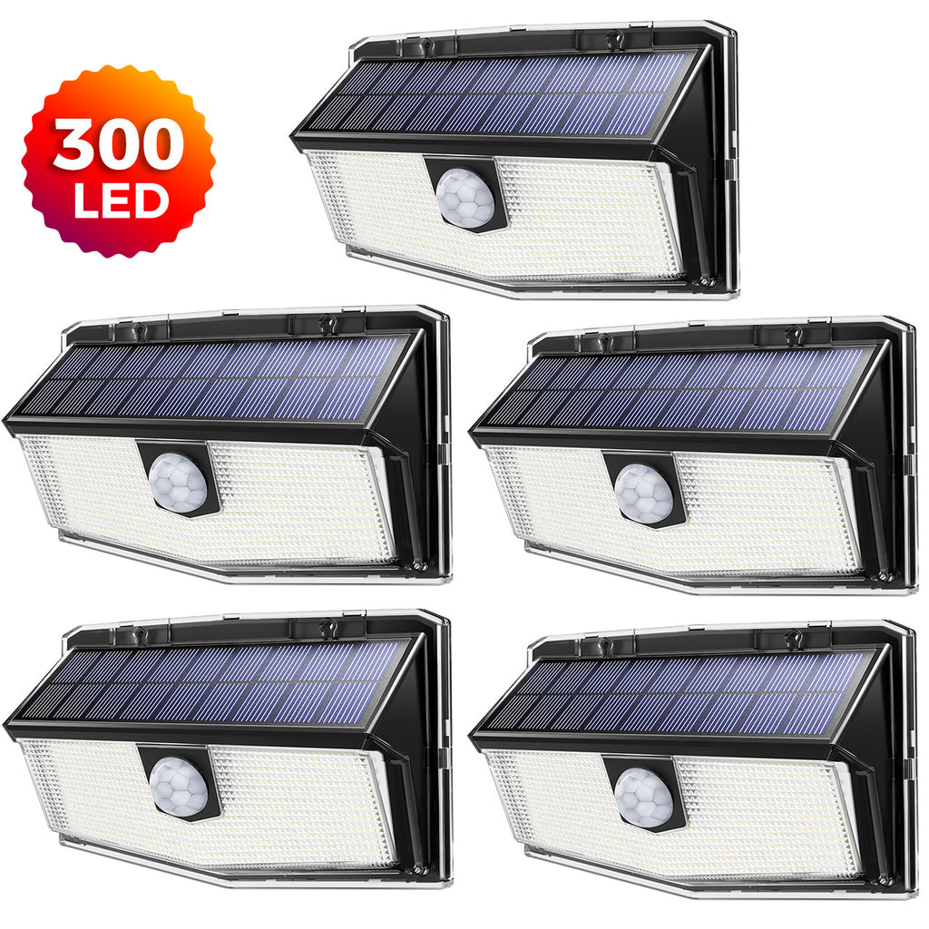 Solar Motion Sensor Light, 300 LED 3 Optional Modes, 270° Wide Angle Illumination, IP67 Waterproof, Solar Wall Light for Garden, Garage, Courtyard, Front Door, Swimming Pond, 5 Pack