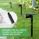 "LITOM 5.12"" ABS Plastic Spikes Ground Stake for Solar Landscape Lights"
