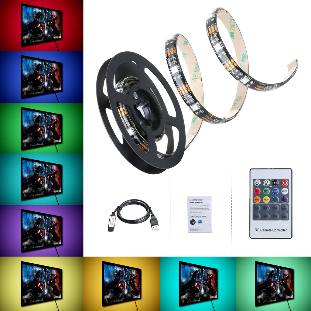 LITOM Lighting Strip with Remote controller,USB Multi Color RGB LEDStrip Backlit 8 static color 6 Dynamic Lighting Modes IP65 Waterproof Protection for Flat  Screen TV LCD, Desktop Monitors(150 LED)