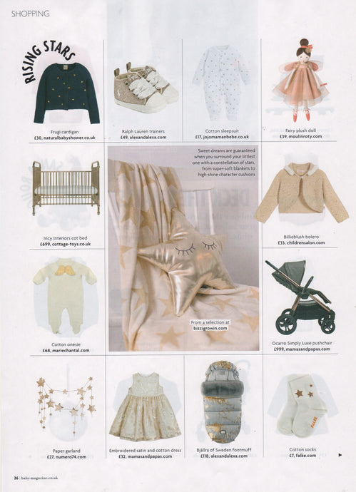 Baby Magazine featuring the Bizzi Growin Gold Star Cushion